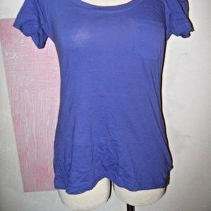 City Streets Tops - Grape Purple Round Neck 1 Pocket Stretch Shirt XL